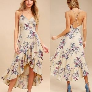 Gild the Lily Beige Floral Print High-Low Maxi